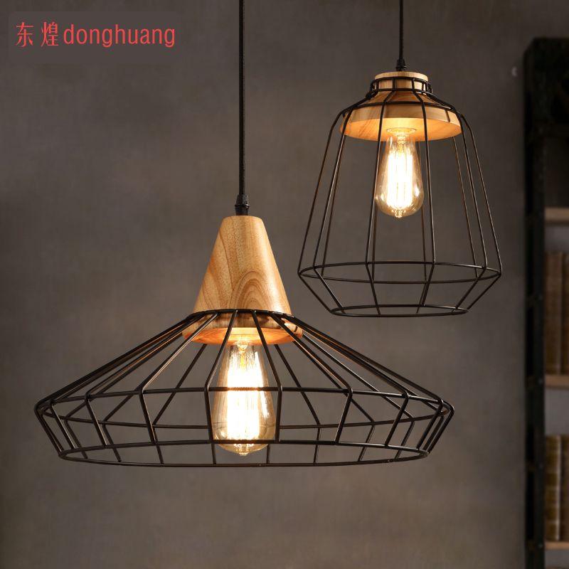 Vintage Industrial Lamps Restaurant Bedroom Living Room Cafe Lights Edison  Wood Loft