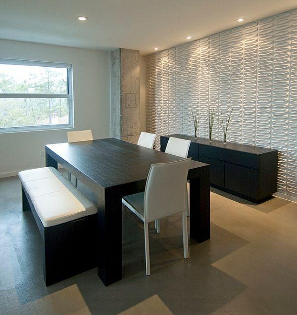 Wie Sieht Das Moderne Esszimmer Aus?   Modernes Esszimmer Im  Minimalistischen Stil Schwarz Weiß Möbel