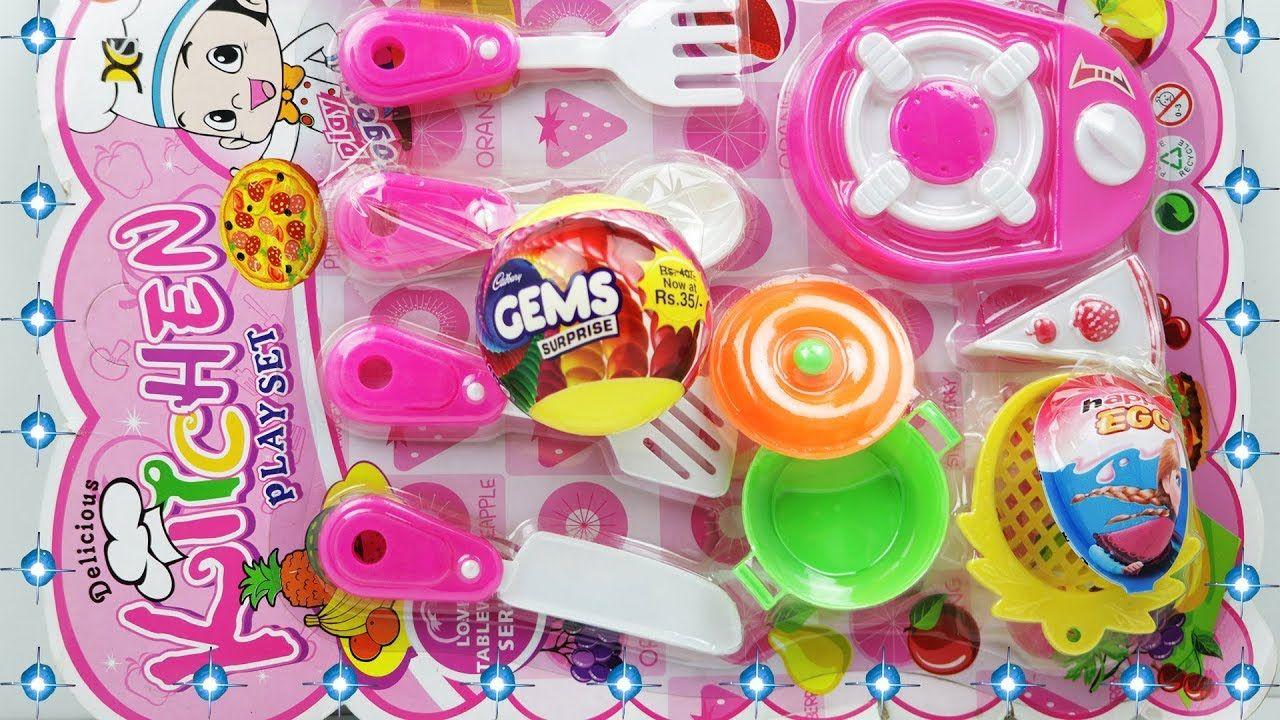 Beautiful Kids Toy Kitchen Set Unpacking With Surprise Gems Ball