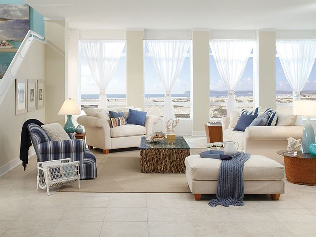 Coastal Styling Looks Good With Sandy Toned Whites Add Pops Of Nautical Colors Like Blues Beach House FurnitureLiving Room