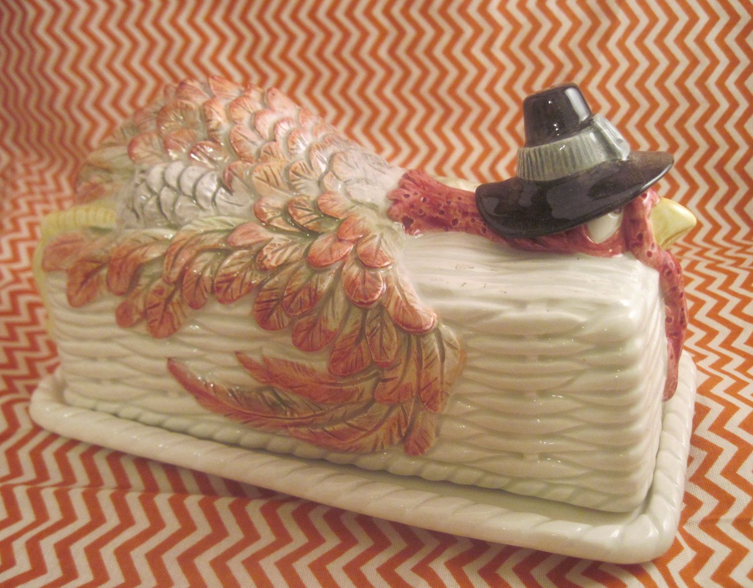 fitz and floyd turkey butter dish fitz and floyd pilgrims