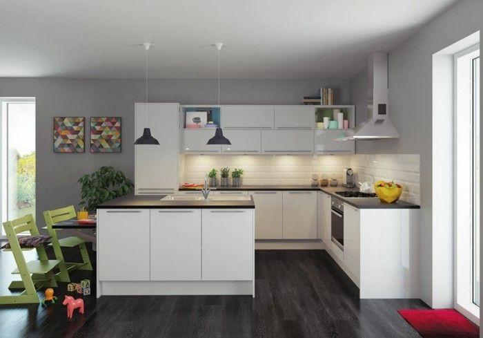 Couleur peinture cuisine - 66 idées fantastiques Pinterest - espace entre plan de travail et meuble haut