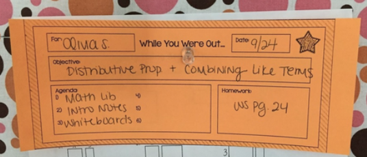 Sample Absent Note Classroom organization, Classroom, Notes