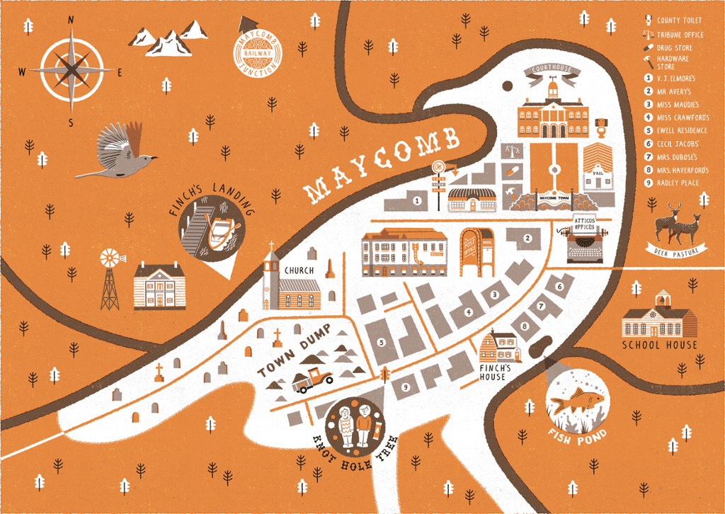 A Map of Maycomb from Go Set A Watchman and To Kill A Mockingbird ...
