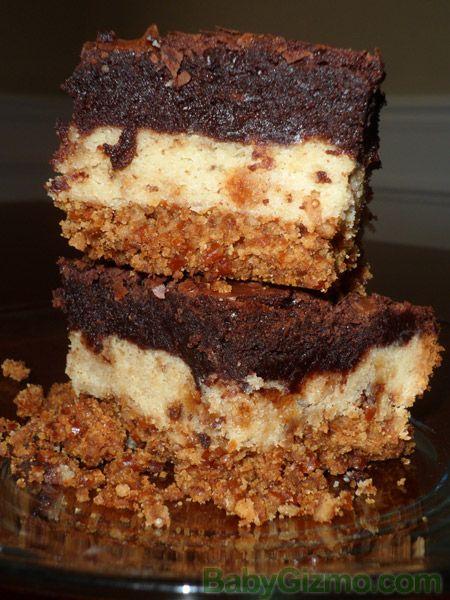 Pretzel Crusted Sugar Cookie Heath Brownie Bar