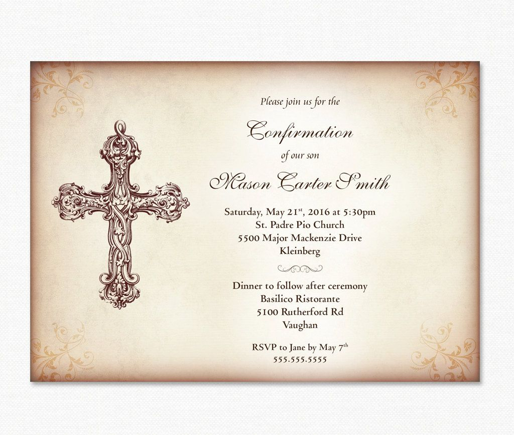 Confirmation Invitation Boy S Confirmation Diy Etsy Confirmation Invitations Invitations Vintage Invitations