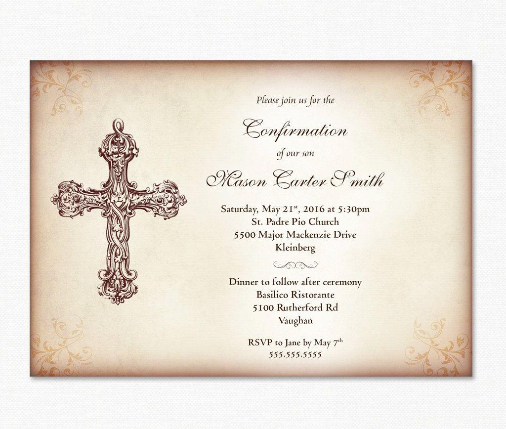 Confirmation Invitation Boy S Confirmation Diy Printable