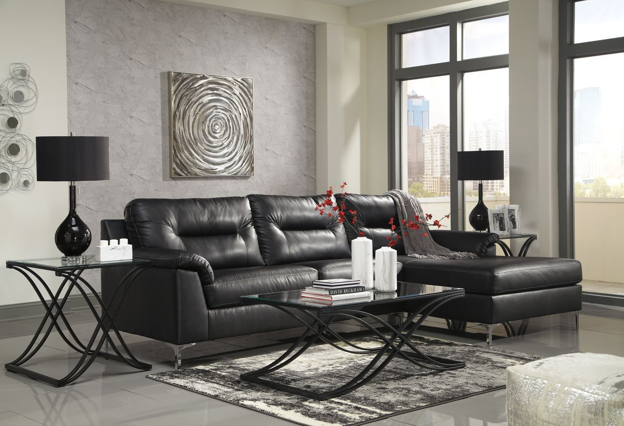 Ashley Furniture 39604 Tensas Black Sectional Sofa Savvy Discount Furniture Living Room Design Modern Living Room Design Black Furniture