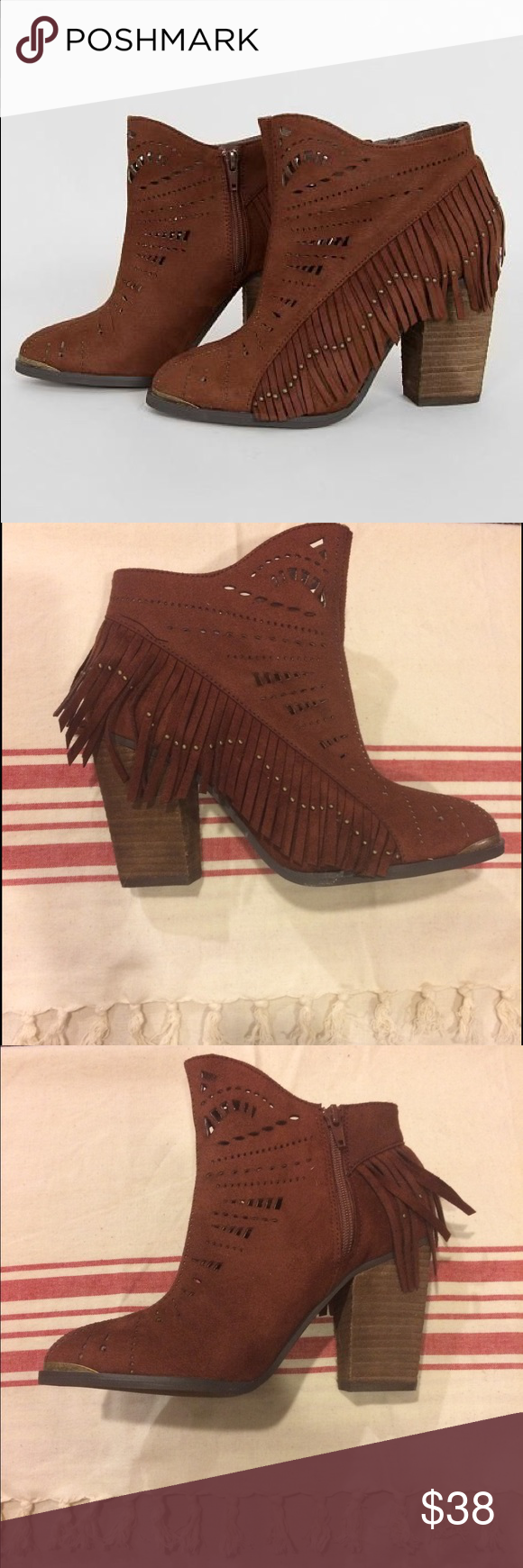 Not Rated Fierce Fringe rust western heeled bootie Serious boho chic vibe- very free people feel with these beautiful never worn boots. They are really fun faux suede rust, or red - brown, color with block heel for added comfort. Perforated later cut design with brass colored metal accents on fringe pieces and around pointed toe. Not Rated is a None West owned brand and quality-made. You'll love them! Wear them to a festival or out to brunch. Not Rated Shoes Ankle Boots & Booties