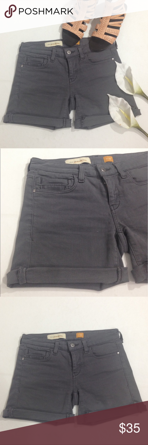 """ANTHROPOLOGIE PILCRO & THE LETTERPRESS GRAY SHORTS In very good condition, show signs of gentle wear. Cuffed legs, mid-rise. Platinum color. Size 25. Cotton 92%, 7% polyester, 1% Elastane. Measurements: waist side to side: 14"""", Rise: 7.5"""", Inseam: un-cuffed: 6"""". Pilcro and The Letterpress  Shorts Jean Shorts"""