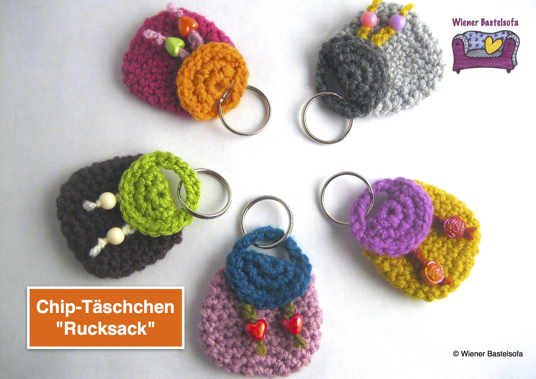 Anleitung Täschchen Rucksack Für Einkaufschip Schlüsselanhänger