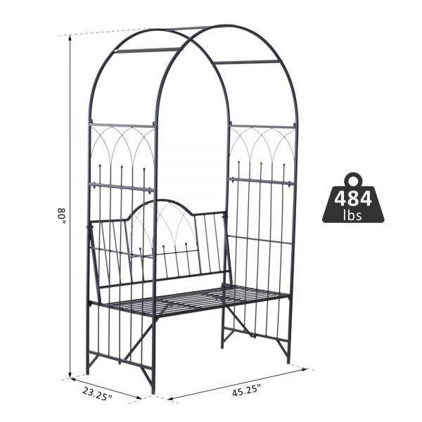 Black Metal Garden Arbor Bench Outdoor Patio Trellis Arch