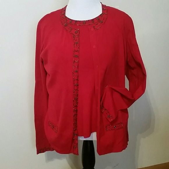 Embellished sweater set Beautiful deep red 2 piece set includes sleeveless shell and cardigan.  Pretty beading detail on neckline of each, plus sleeve, pocket and button placket of cardigan. Ready for you to love.??? Emma James Sweaters Cardigans