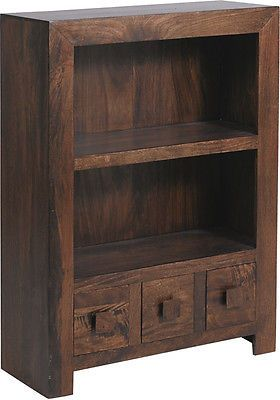 Solid Wood Walnut Small Low Open Bookcase Display Unit