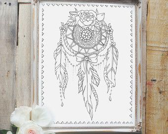 Crescent Moon Dream Catcher Coloring Page by RobinElizabethArt | Art ...