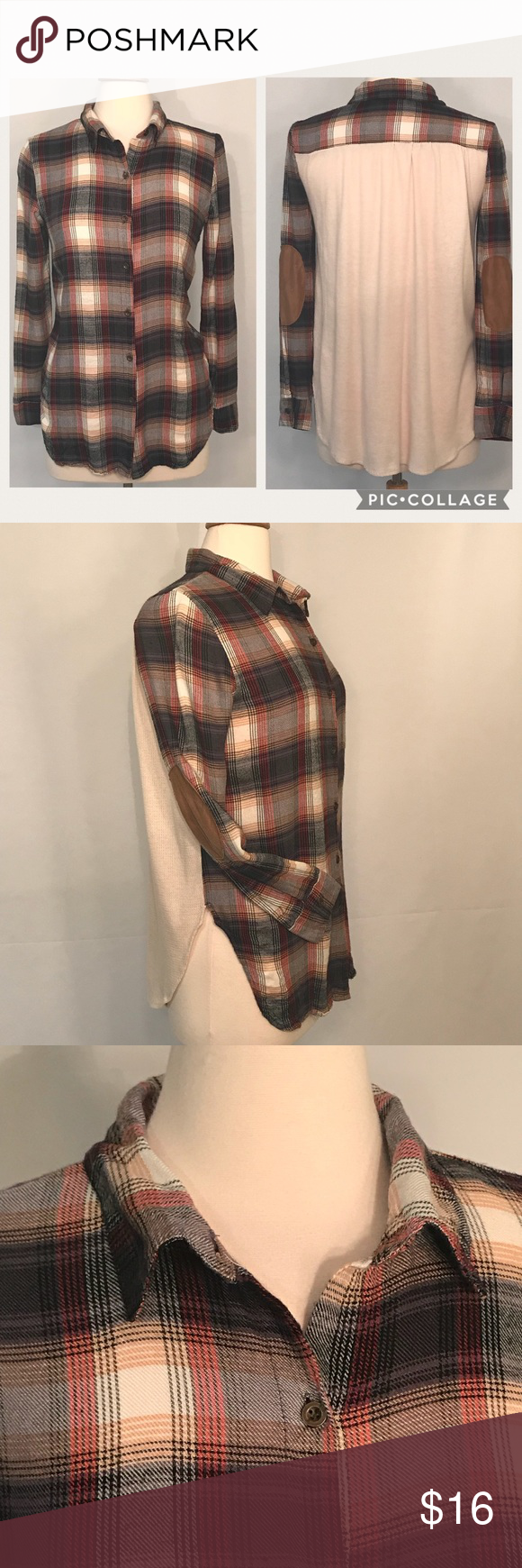 Flannel jacket with elbow patches  About a Girl Womenus Brown Plaid Flannel Shirt About a Girl Womenus