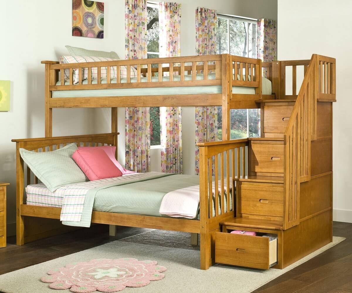 Rustikales Etagenbett Twin Über Volle Schlafzimmer Bett