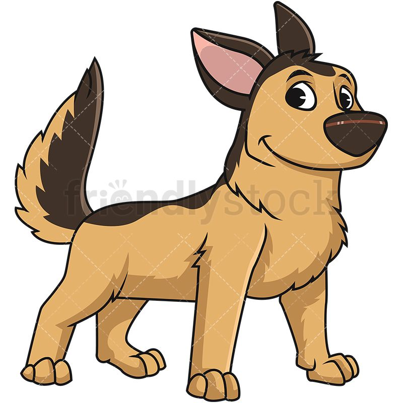 German Shepherd Dog Standing Cartoon Vector Clipart German
