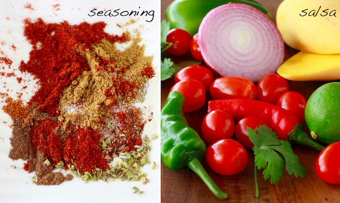 spices & herbs for mexican seasoning, and ingredients for mango salsa #homemadefajitaseasoning