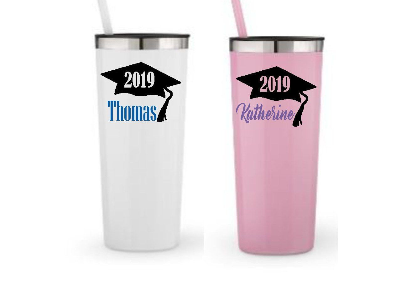 dd673b84e65 Graduation Gift with Name, Graduation Gift, 2019 Graduation Cap ,  Graduation Tumbler, Roadie Tumbler with straw, Personalized Cup