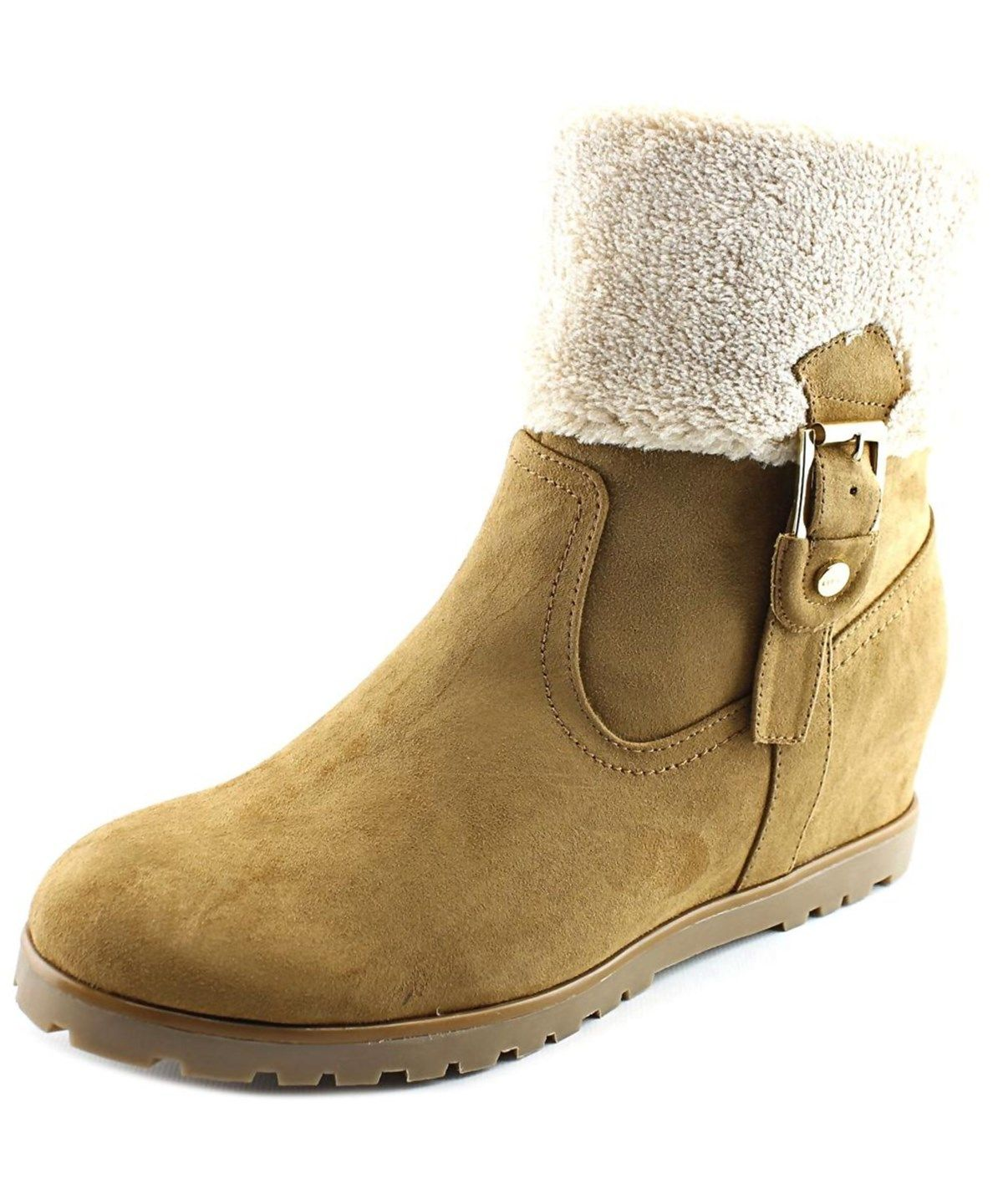 TOMMY HILFIGER TOMMY HILFIGER SOFFIA 2 WOMEN  ROUND TOE SUEDE TAN MID CALF BOOT'. #tommyhilfiger #shoes #boots & booties