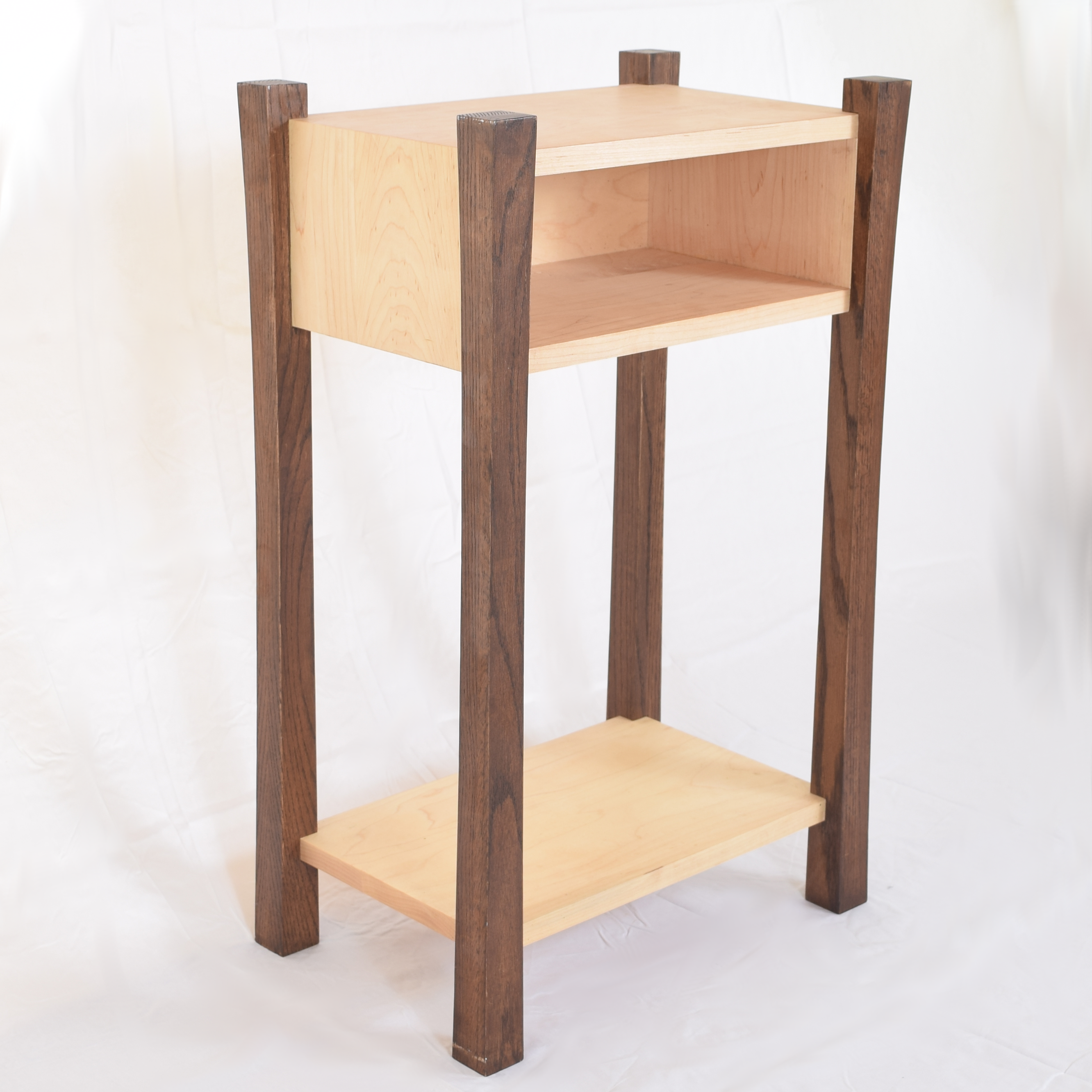 Stylish modern bedside table made with solid walnut and maple ... for Modern Bedside Table Png  113cpg