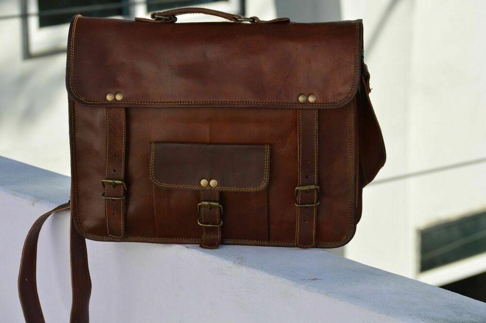 Bag Genuine Vintage Leather Men Messenger Laptop Briefcase Satchel S Shoulder