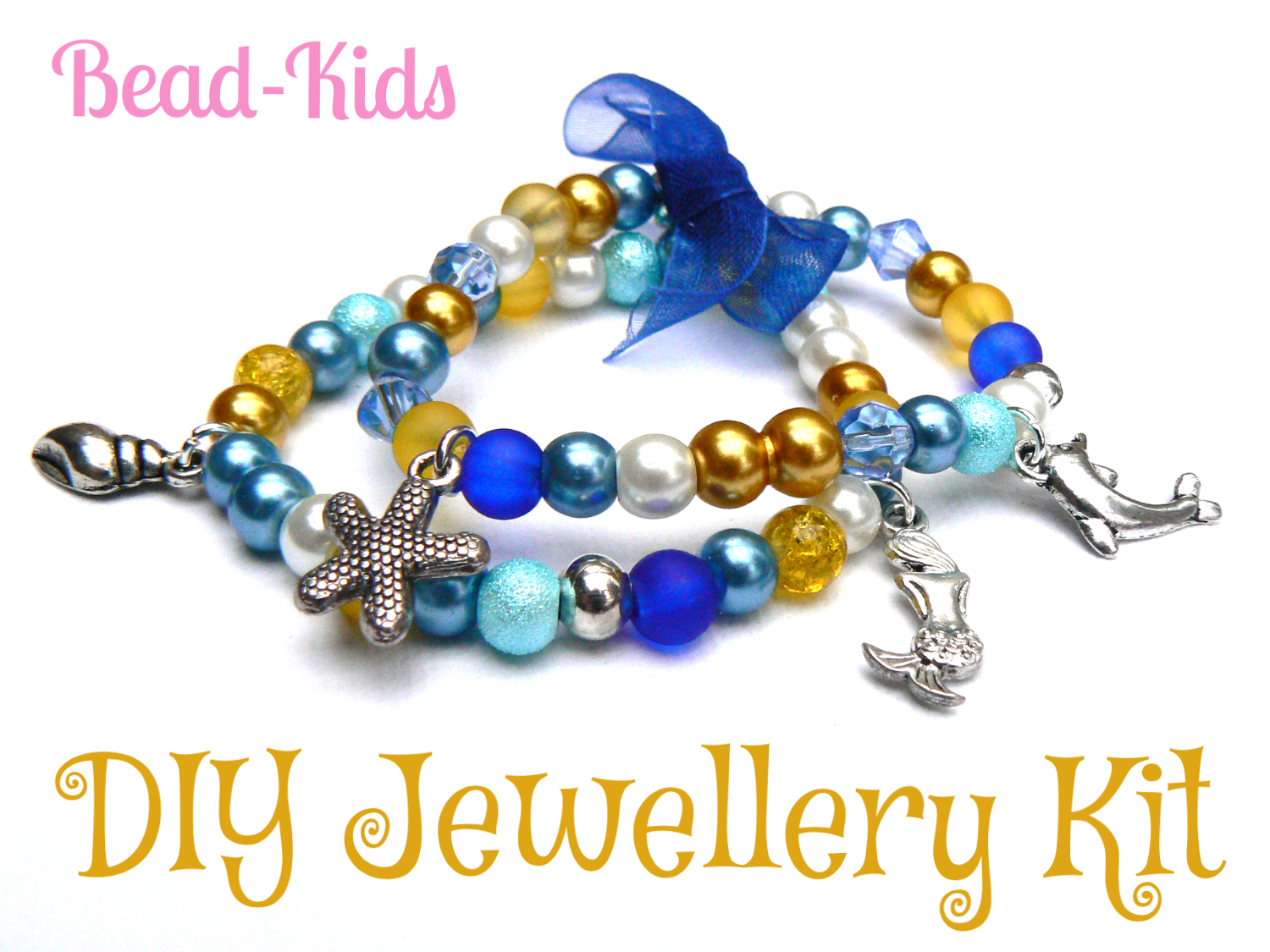 Make your own Dolphin stretch charm bracelet - no tools required and great for ages 5yrs+