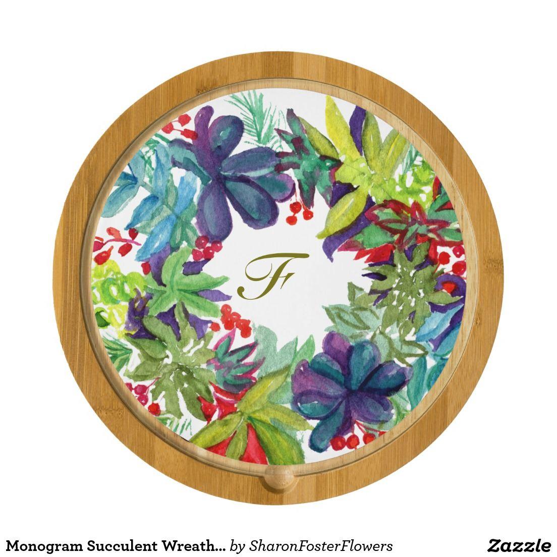 Monogram Succulent Wreath Cheeseboard