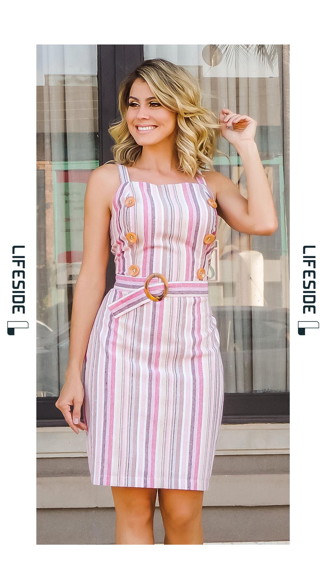 1c8799ef1 LIFESIDE | Moda Feminina Primavera Verão 2019. Vestido em linho listrado em  tons de rosa
