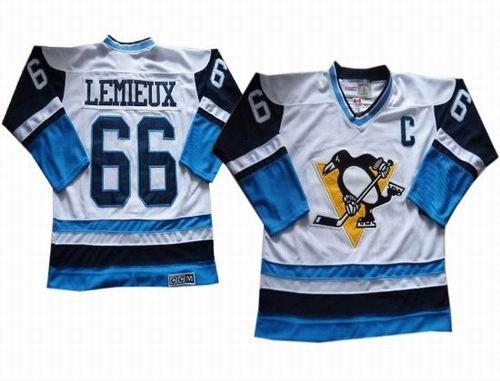 Pittsburgh Penguins Vintage #66 Mario Lemieux white blue CCM jerseys $32.0