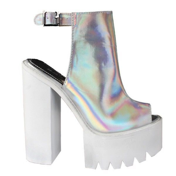 ae297df0d746 Hologram Chunky Cleated Ankle Strap Peep Toe Platform Heels - Sz 4.5 ...