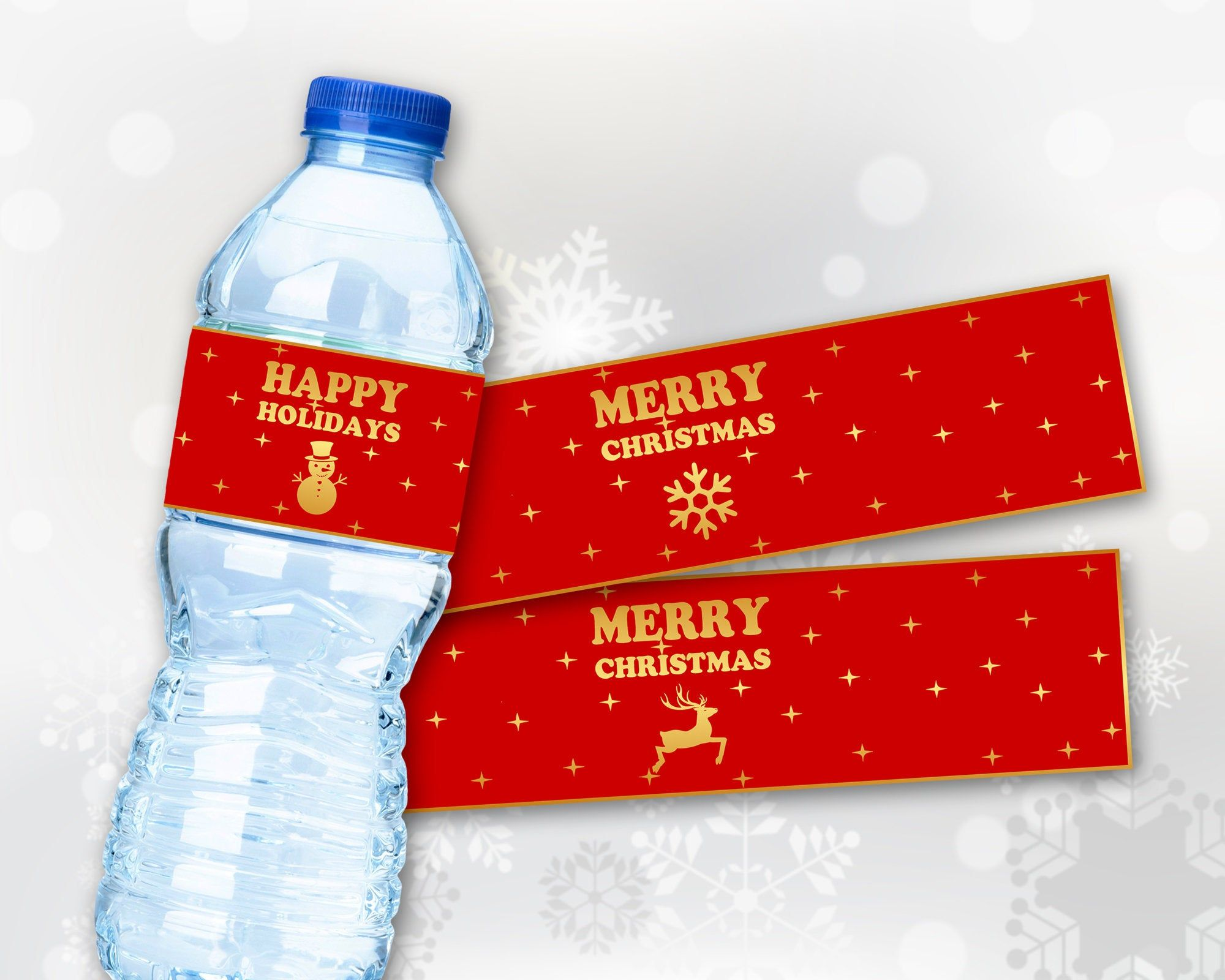 Christmas Water Bottle Labels Merry Christmas Happy Holidays Red Gold Printable Digital File Diy Prin Beer Birthday Mini Wine Bottles Bottle Wrappers