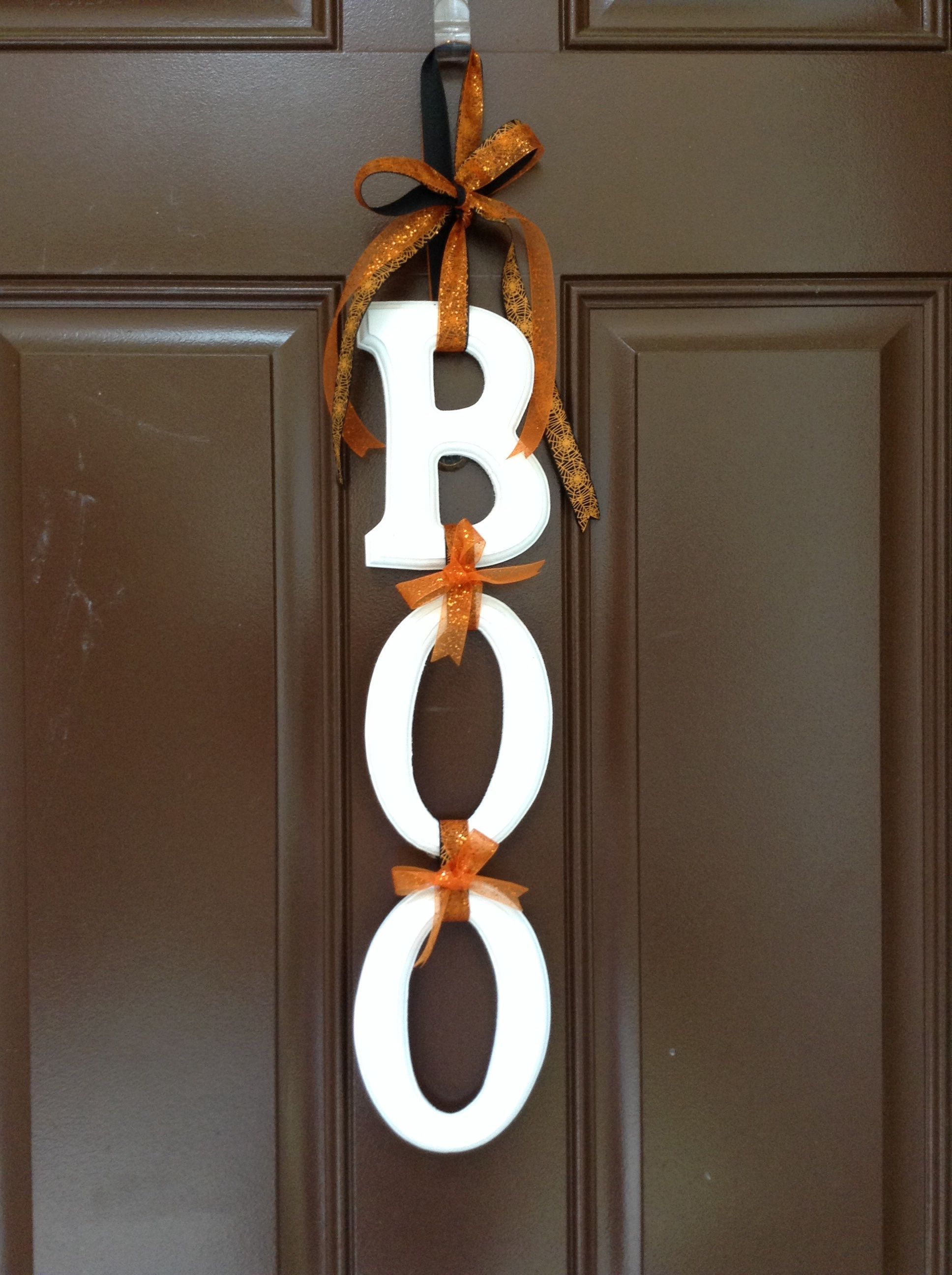 Halloween door decoration craft- just wooden letters from michaels - Halloween Door Decorations