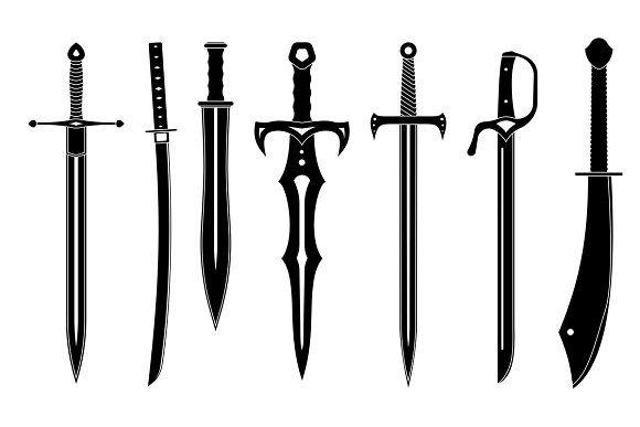 Icon Set Of Swords Ancient Swords Swords Medieval Icon Set
