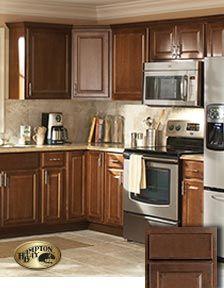 10x10 Kitchen Starts At 1 842 Hampton Bay Cabinets At Home Depot Color Cognac Dark Brown Kitchen Cabinets Rustic Kitchen Design Kitchen Decor Modern