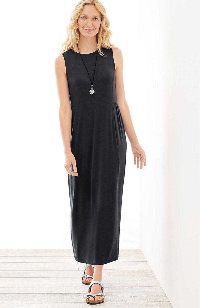 shirred-waist knit maxi dress | J Jill |