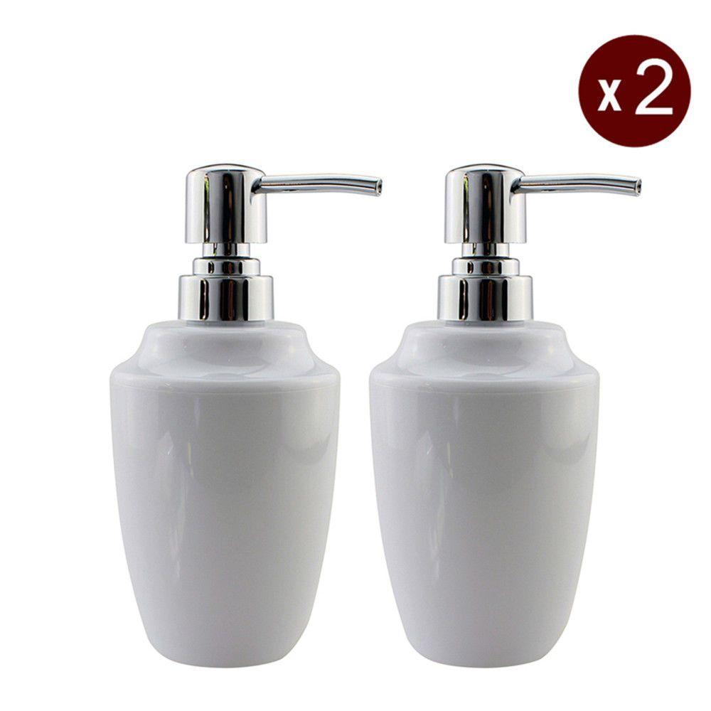 White Hand Soap Dispenser Pump Bottle For Shampoo Bathroom Washroom Holder 2pc