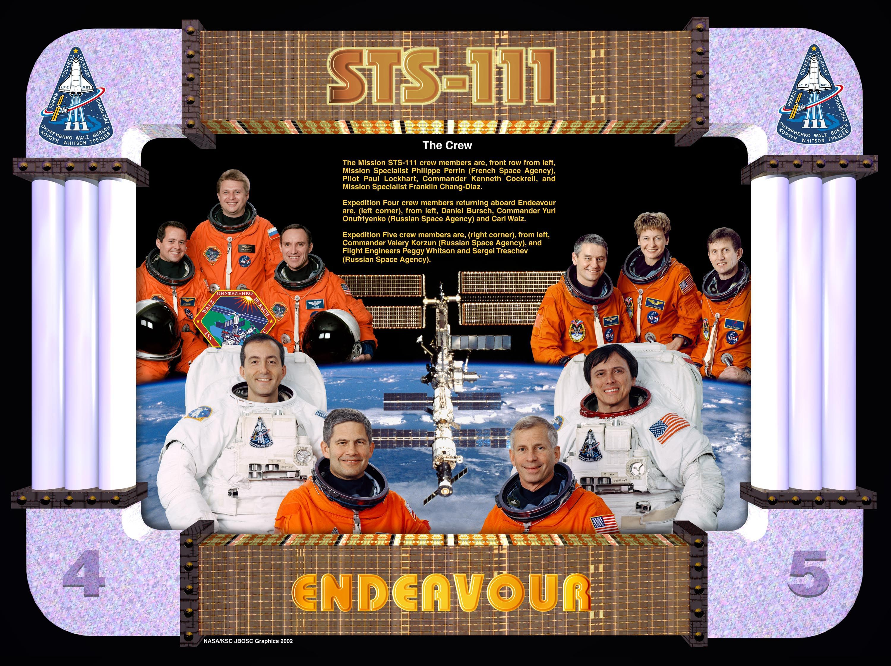 STS-111 ENDEAVOUR Crew poster ...