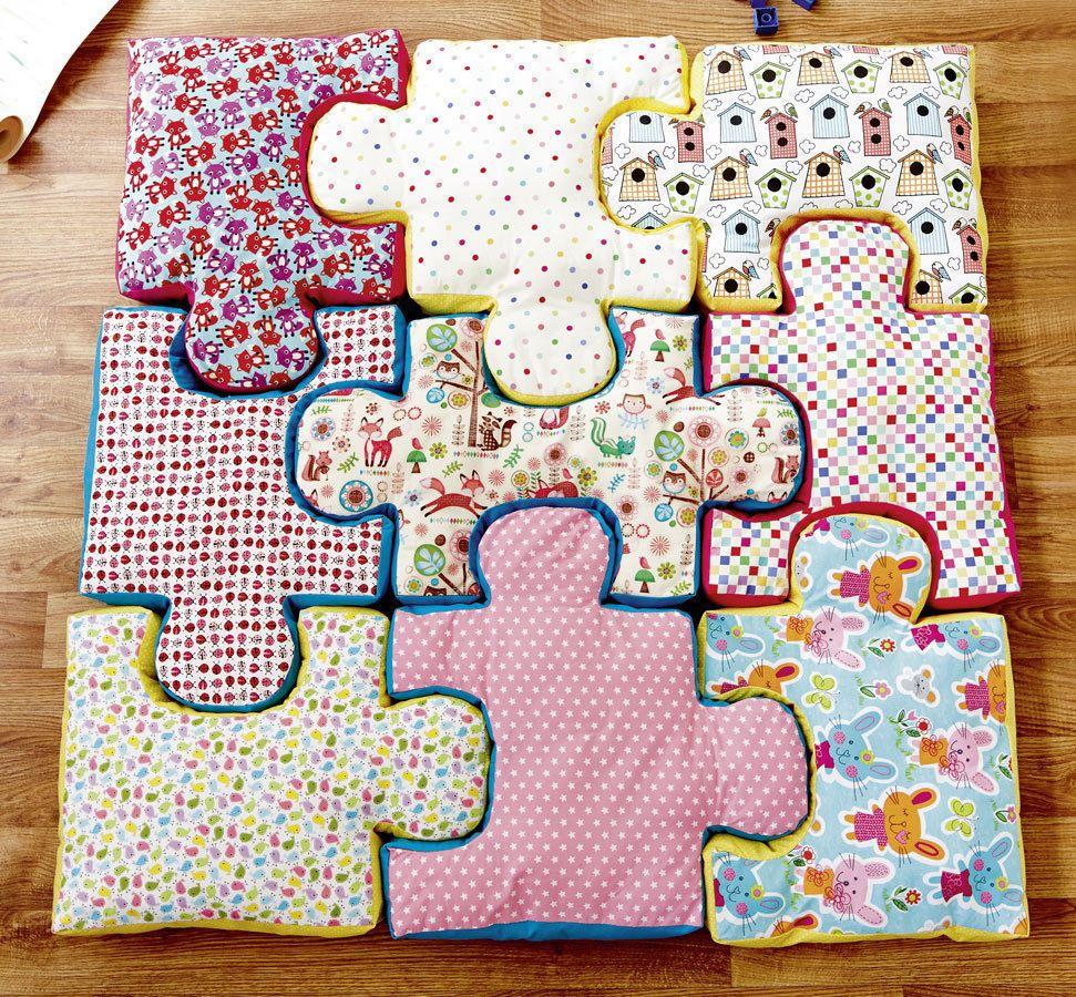 Puzzle-Bodenkissen Nähanleitung mit Schnittmuster - Nähanleitungen ...