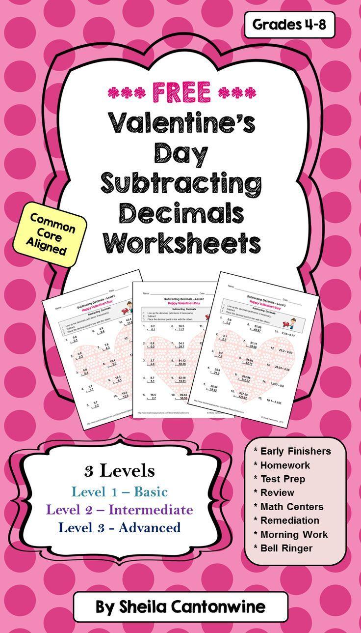 Valentine's Day Worksheets on Subtracting Decimals