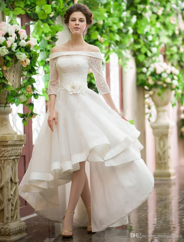 Discount Vintage Style High Low Wedding Dresses Off Shoulder Half Sleeve Flower Belt Lace Or Wedding Dresses High Low Short Wedding Dress Wedding Dress Organza [ 1119 x 850 Pixel ]