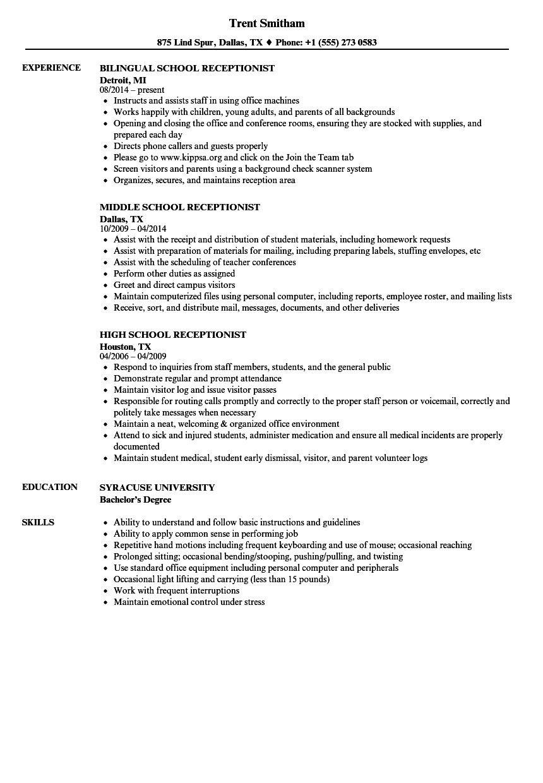 Front Desk Receptionist Resume 95 Sample Receptionist