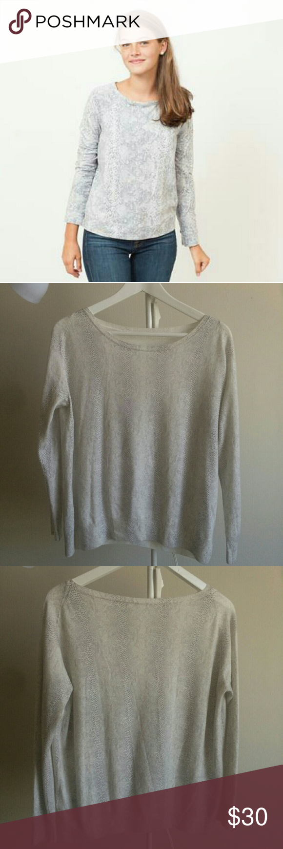 Joie animal print sweater top Size small. Tag removed intended. Super soft n cozy. In very good condition. No flaws. Snake print in cream grey color Joie Tops