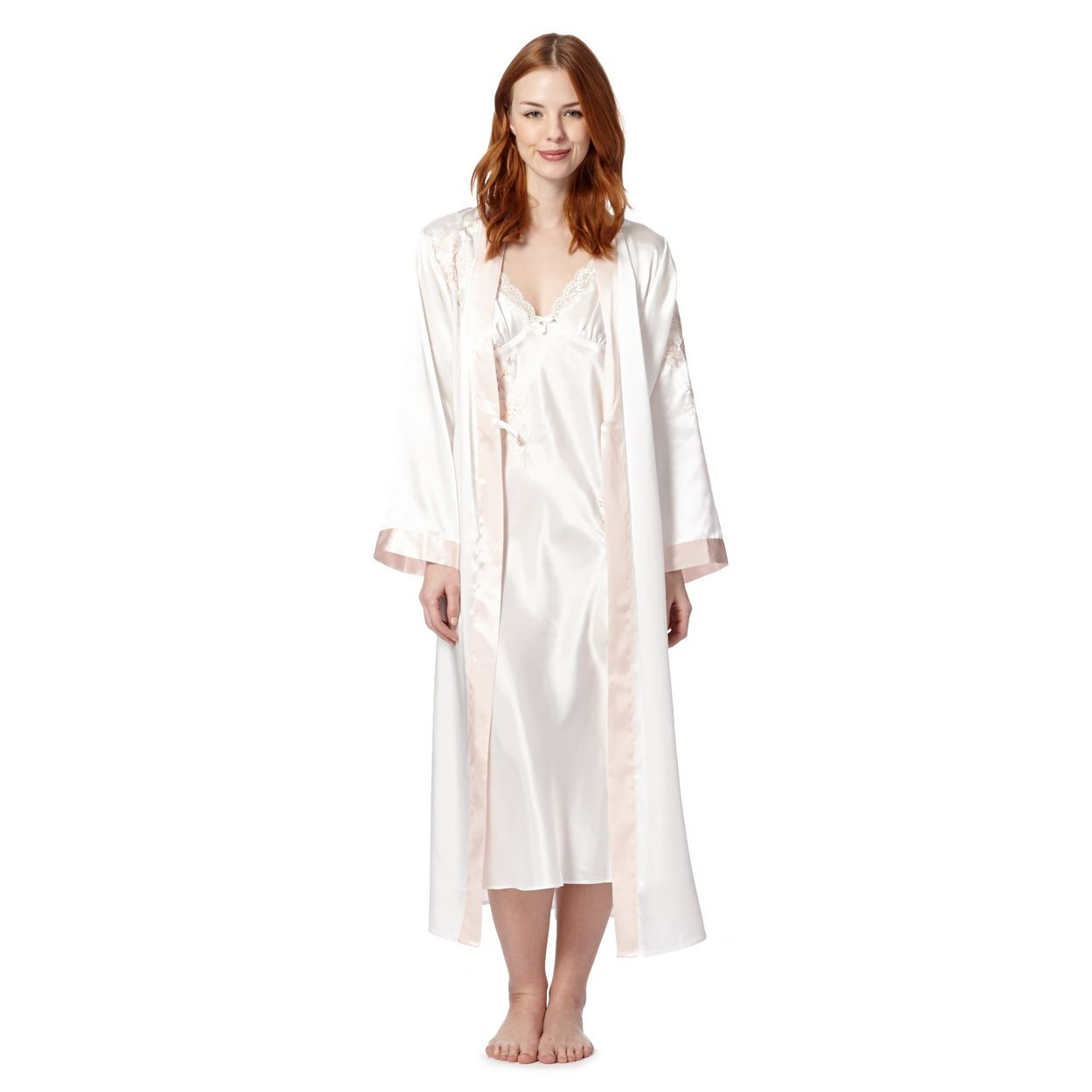 39abed9c36 This long dressing gown from Presence comes in ivory satin with pale pink  trims and lovely embroidery to one shoulder and sleeve. I have always  wanted a ...