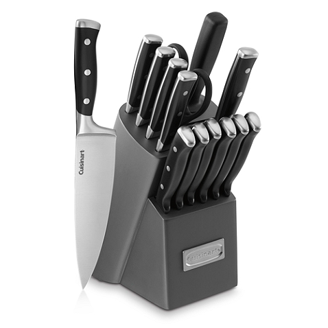 This cutlery has superior high carbon stainless steel blades, forged triple riveted handles. It includes all the essential knives for food preparation.