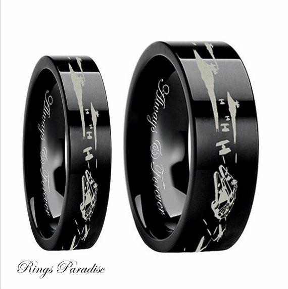 Star Wars Couples Wedding Bands Star Wars Wedding Ring Men S Gift Star Space Battle Mens Tun Star Wars Wedding Ring Cool Wedding Rings Unusual Wedding Rings