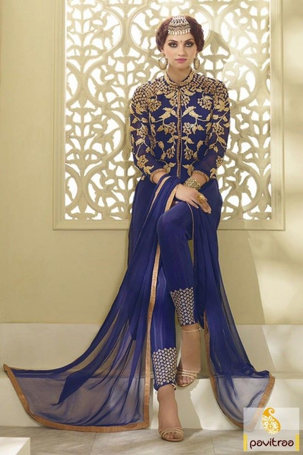 Attire The Most Spectacular And Charming Cobalt Blue Georgette Wedding Wear Fashions Myntra Salwar Suit Online At Pavitraa Fashion With Cheapest Rate