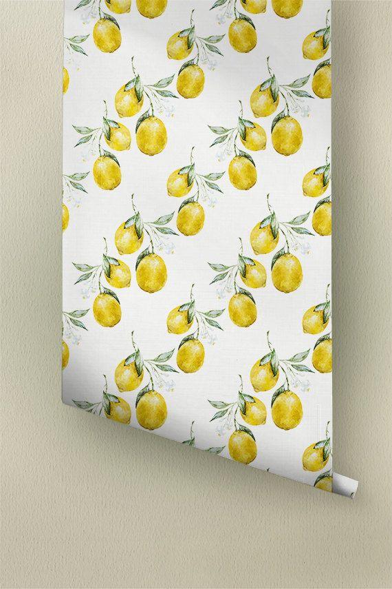 Lemon Wallpaper, Removable Wallpaper, Lemon Wallpaper
