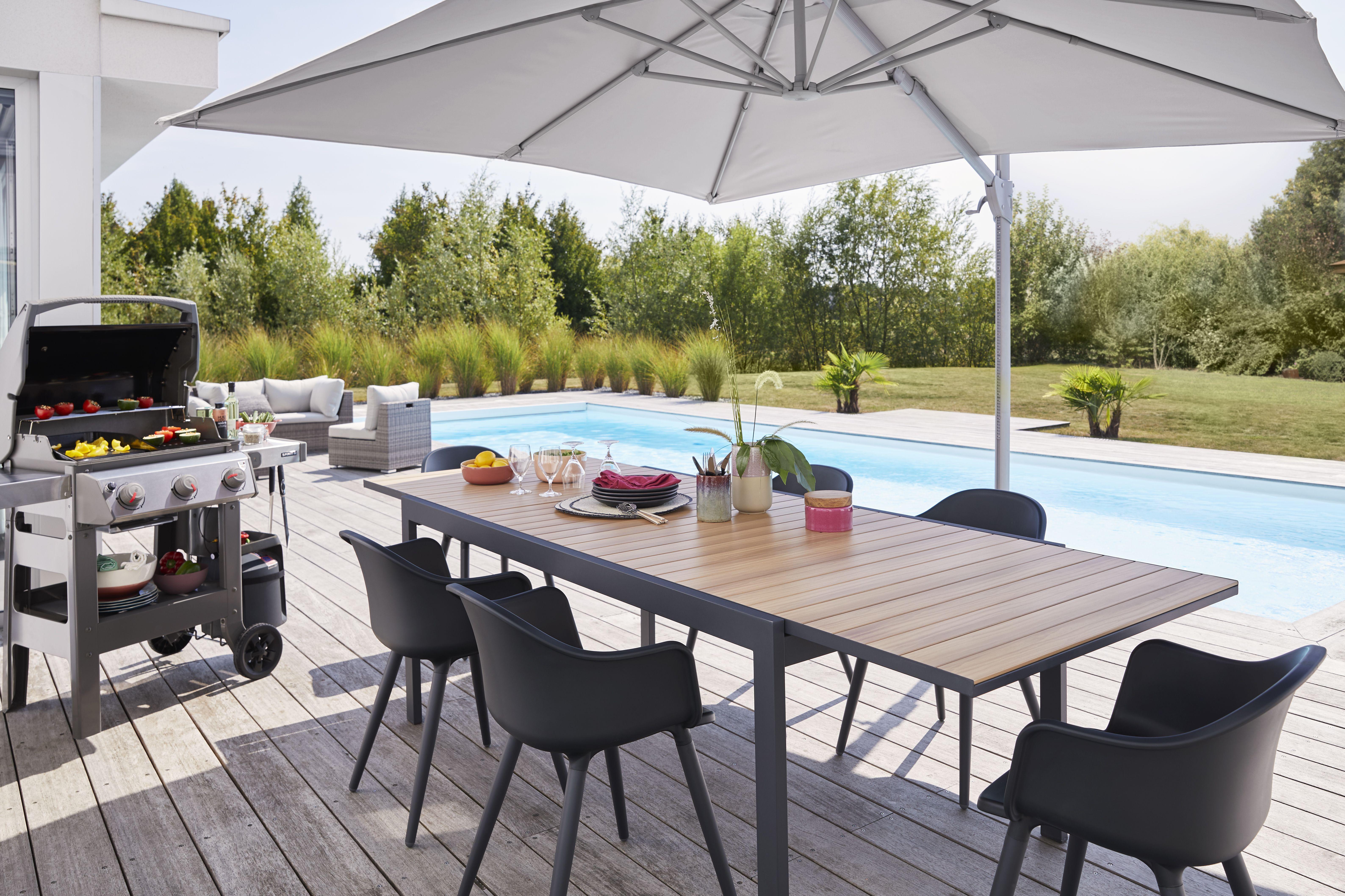 Table De Jardin En Aluminium Morlaix 180 270 X 100 Cm Table De